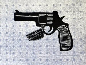 Where Did the Gun Come From? [Woodcut]